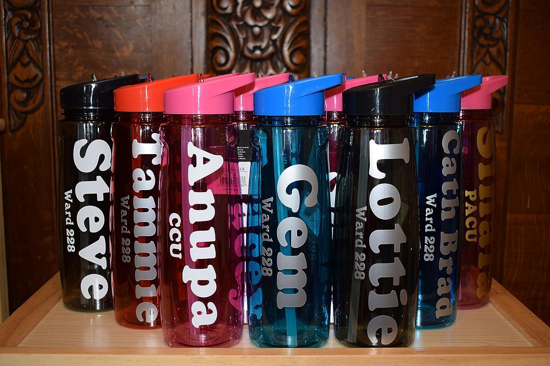 Botellas de Agua personalizada - con tapa y paja 750 ml, a prueba de fugas, libre de BPA, ECO plástico Tritan para niños, Hombres, mujeres - deportes, ...