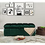 Iconic Home Chagit Bench Velvet Tufted Storage Ottoman, Green