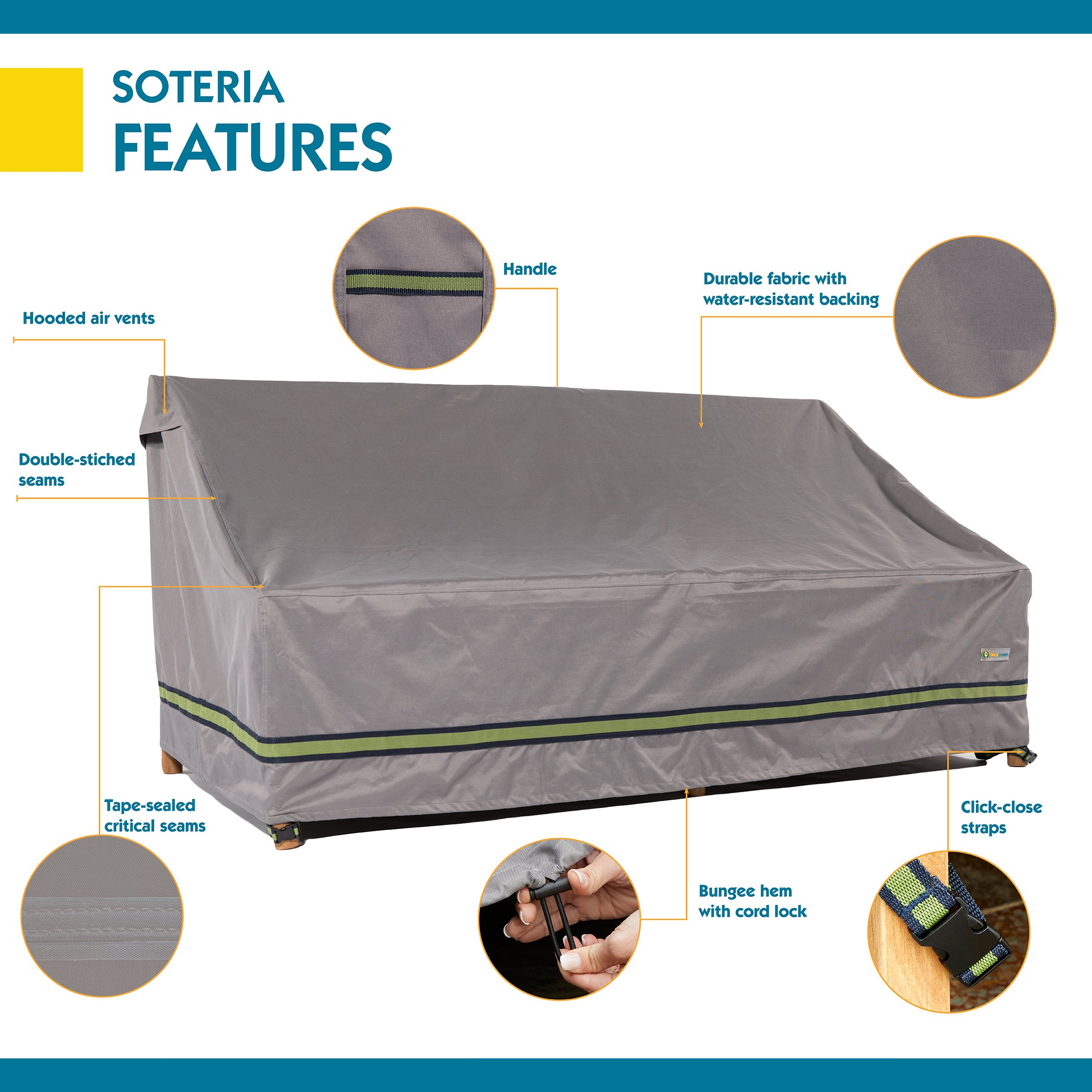 Duck Covers Soteria Rainproof 62'' Wide Patio Loveseat Cover by Duck Covers (Image #3)