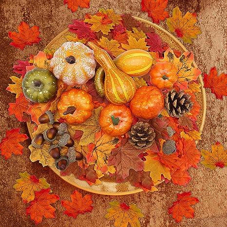 Halloween Artificial Pumpkin Leaves Home Autumn Decor Harvest Fall Thanksgiving
