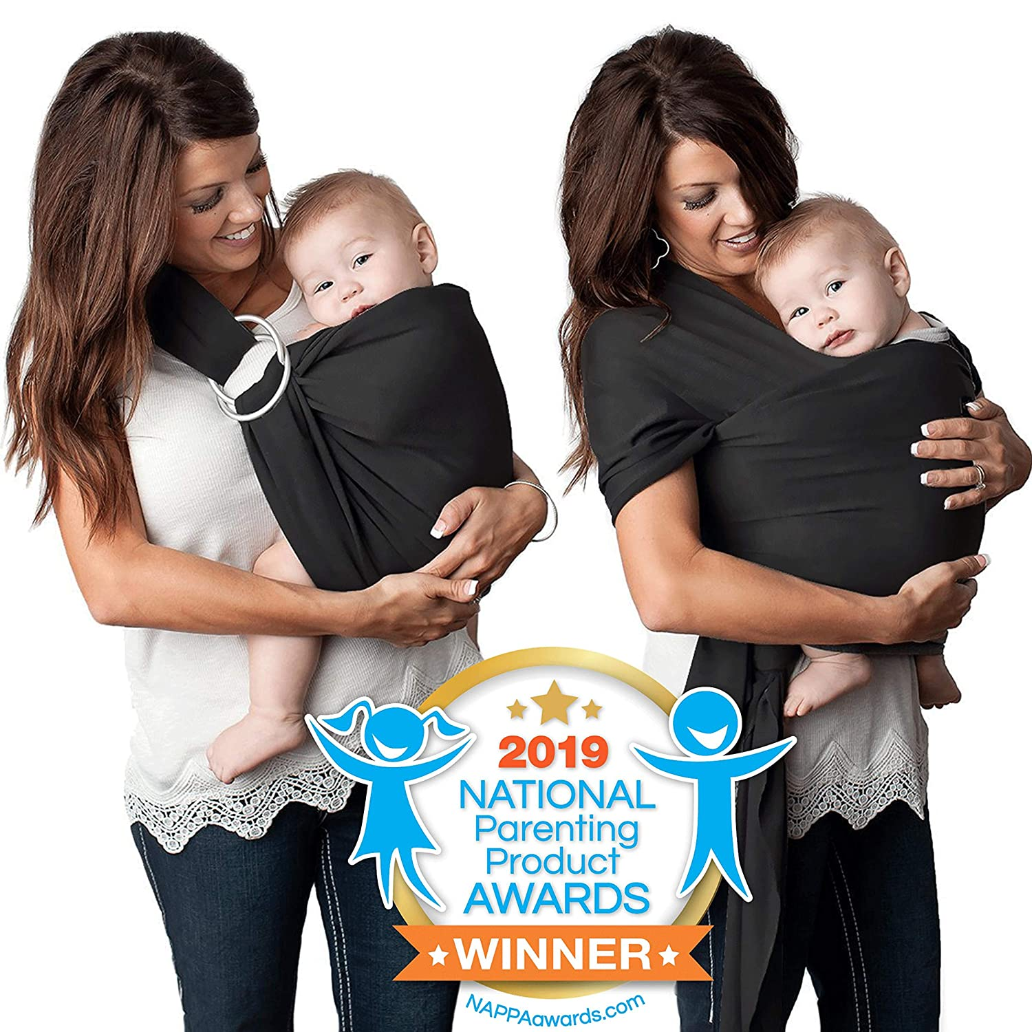 4 in 1 Baby Carrier Wrap and Baby Sling by Kids N' Such | Black Cotton | Use as a Postpartum Belt and Nursing Cover with Free Carrying Pouch | Best Baby Shower Gift for Boys or Girls