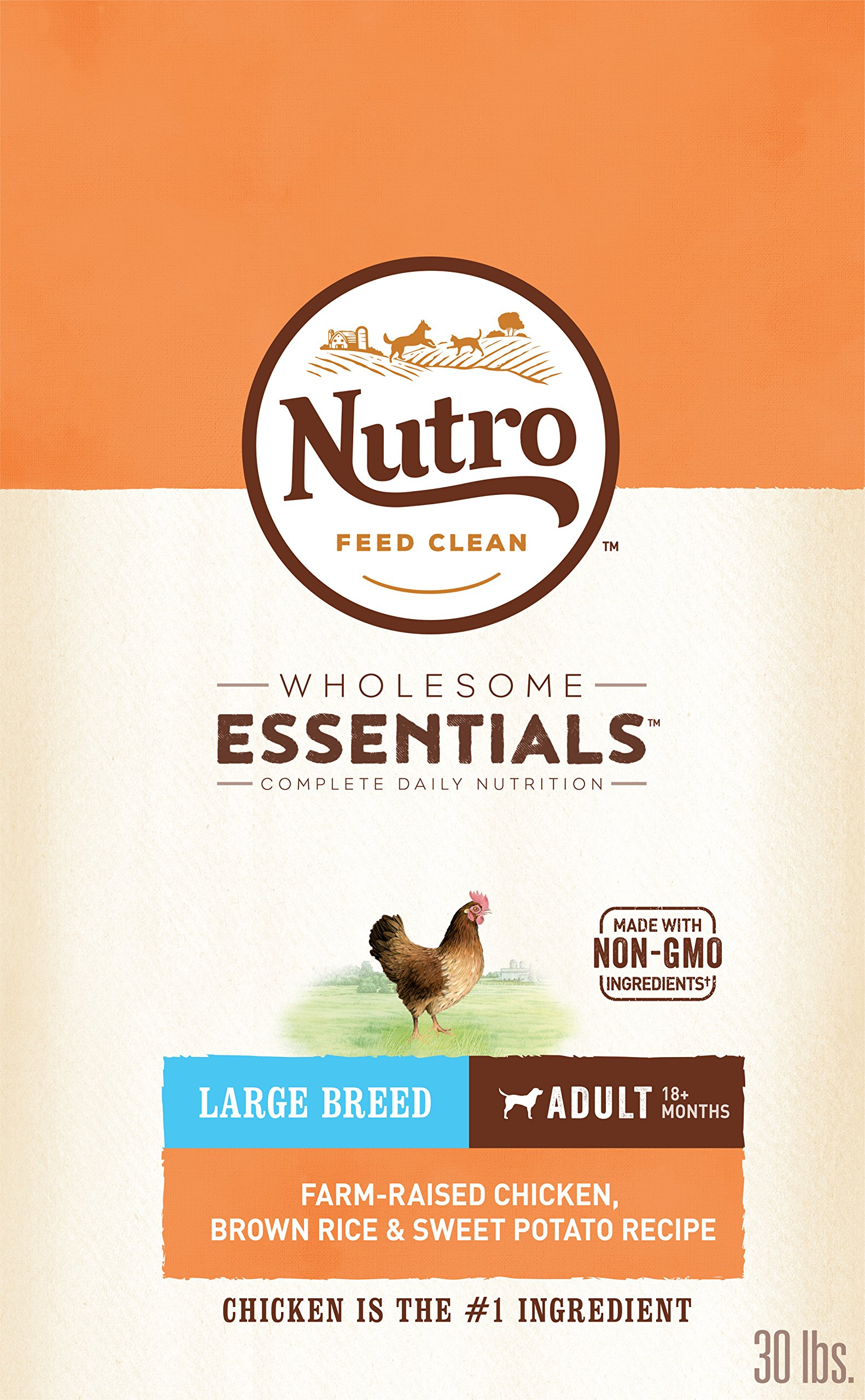 NUTRO WHOLESOME ESSENTIALS Natural Adult Large Breed Dry Dog Food Farm-Raised Chicken, Brown Rice & Sweet Potato Recipe, 30 lb. Bag by Nutro