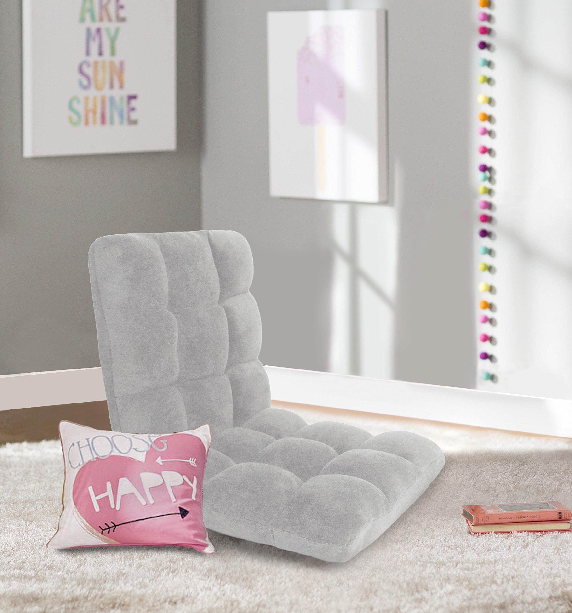 Iconic Home Daphene Adjustable Recliner Rocker Memory Foam Armless Floor Gaming Ergonomic Chair, Grey