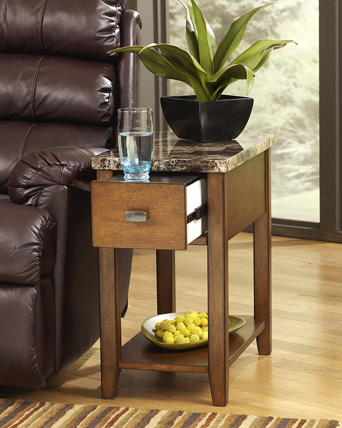 Ashley Furniture Signature Design - Breegin Contemporary Chair Side End Table - Rectangular - Brown