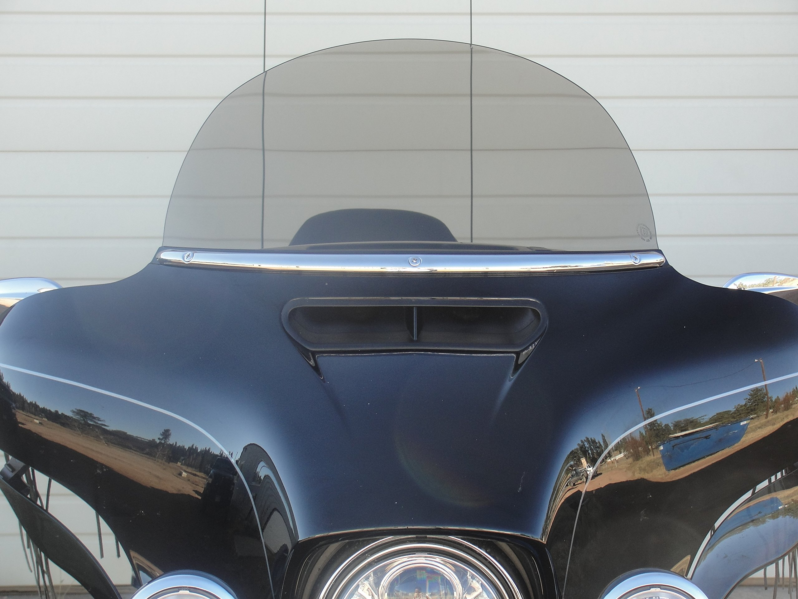Harley Davidson 10'' light tint windshield for 1996-2013 Street Glide/Electra Glide/Ultra Classic/Tri-Glide, made of superior quality 7130 Makrolan polycarbonate with 50% light transmission