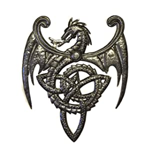 "Dragon, Metal Wall Mounted Art, Mythical, Celtic, and Gothic Sculpture 14"" x 17"""