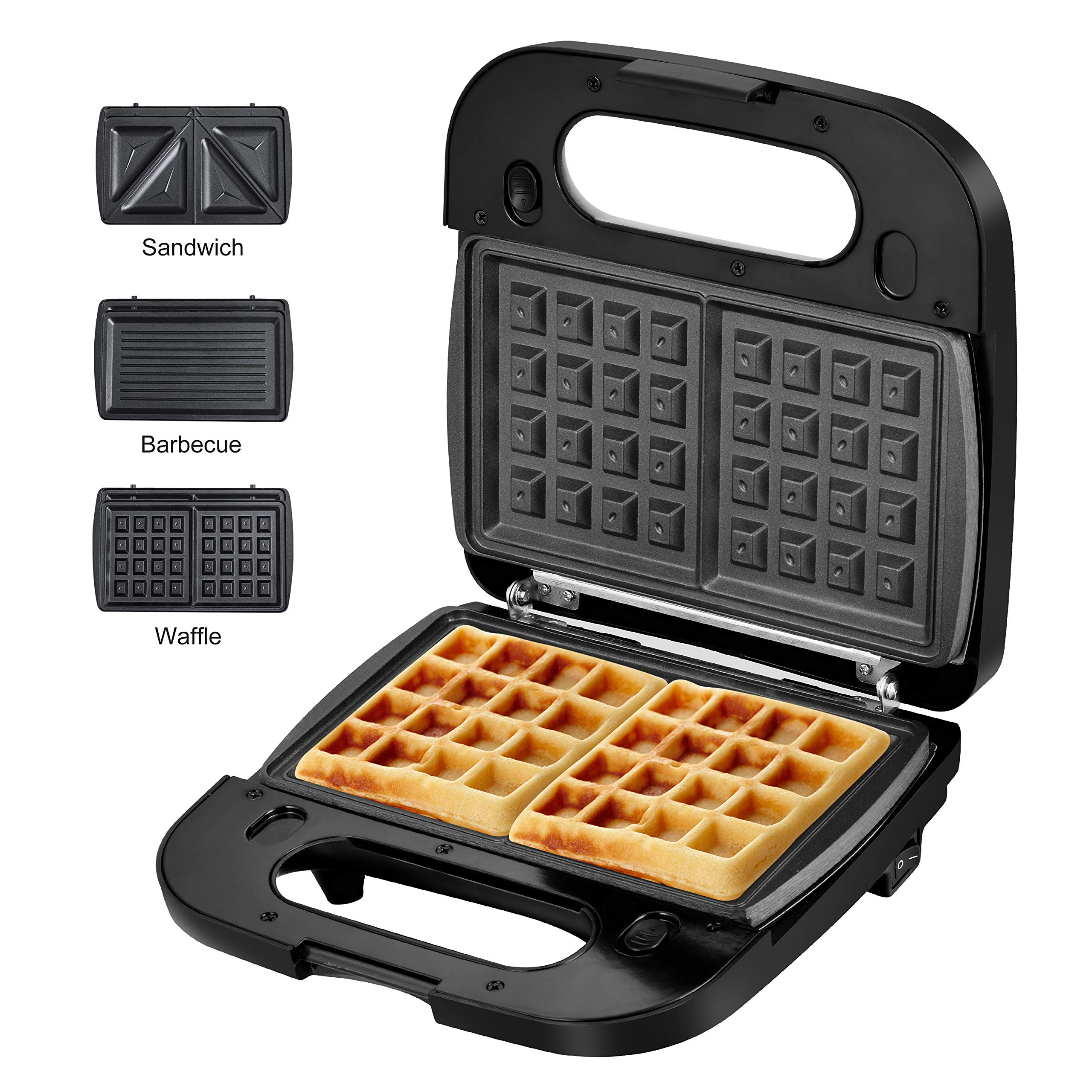 Laukingdom Waffle Maker, Sandwich Maker, Panini Press Grill,Toaster and 3-in-1 Detachable Non-stick Coating, Stainless Steel Surface and Drip Tray, Breakfast Sandwich Maker 2 Slice Black by LauKingdom