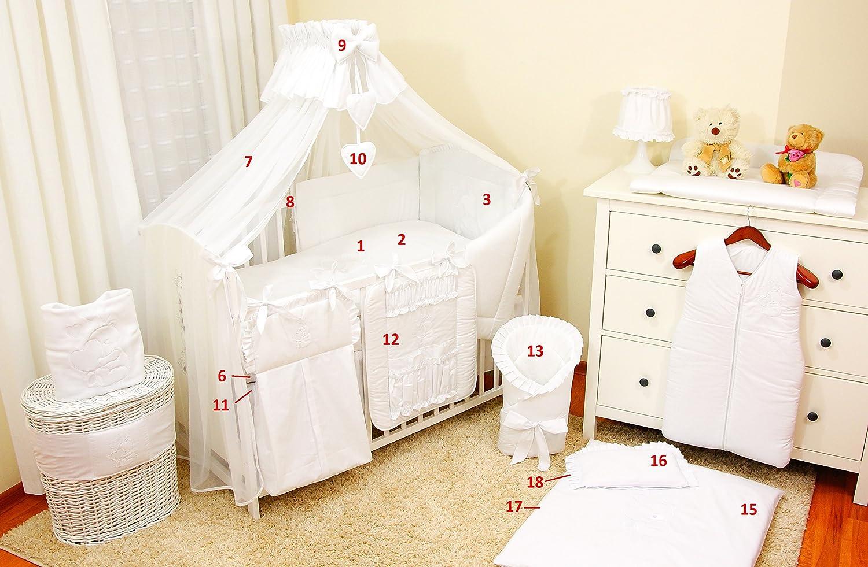 conjunto completo XXL de 18/piezas dise/ño bordado de osito incluye mosquitera rosa Rose Talla:120x60cm 100/% algod/ón Conjunto de ropa de cama para cuna de beb/é