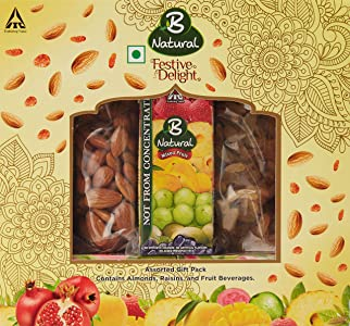 B Natural Festive Delight Gift Pack, 1.4l with Dry Fruit, 170g