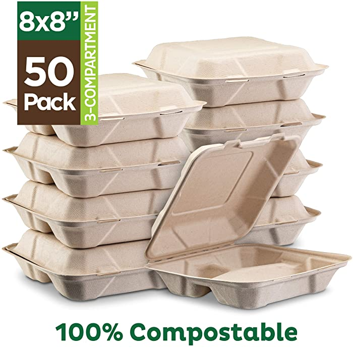 "100% Compostable Clamshell Take Out Food Containers [8X8"" 3-Compartment 50-Pack] Heavy-Duty Quality to go Containers, Natural Disposable Bagasse, Eco-Friendly Biodegradable Made of Sugar Cane Fibers"