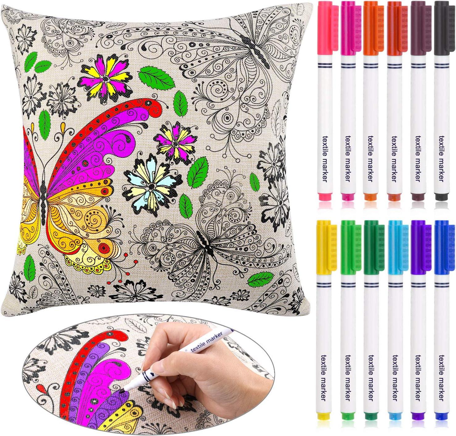 HOWAF Kit de Tejido y Tela Pintura para Niños Dibujo Doodle Graffiti en Casa, 12 Colores Marcadores de Textiles y Tela, Algodón Lino Cojines Almohadas Fundas Modelo Mariposa Flores