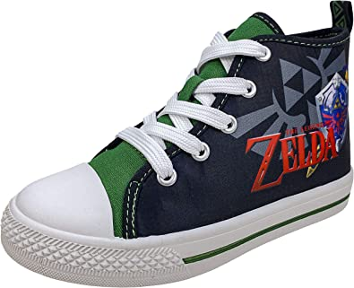 Amazon Com Zelda Nintendo High Top Shoes With Laces Sneakers Non Marking Bottoms Toddler Size 10 To Kids Size 3 Sneakers