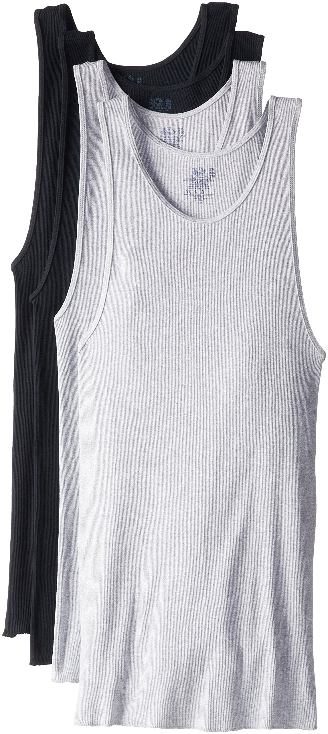 Fruit of the Loom Men's Big Contour Fit A-Shirt, Black/Gray, 3X-Large(Pack of 4)