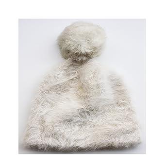 FERETI Gorro De Punto Mujer Blanco Roto Lana Conejo 50 Angora Largo Pompon  Bola Pelo Gorros Beige  Amazon.es  Ropa y accesorios 2f1e7f7b196