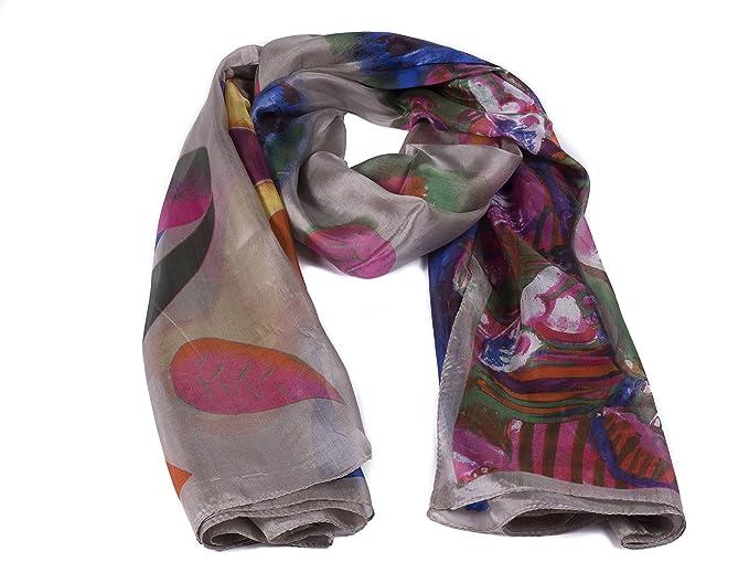 Italy Fulars Fular Pañuelo para Mujer 100% Seda Natural Diseñado en Italia  Estampado Flores Tamaño Mediano  Amazon.es  Ropa y accesorios 94aeaafa46e