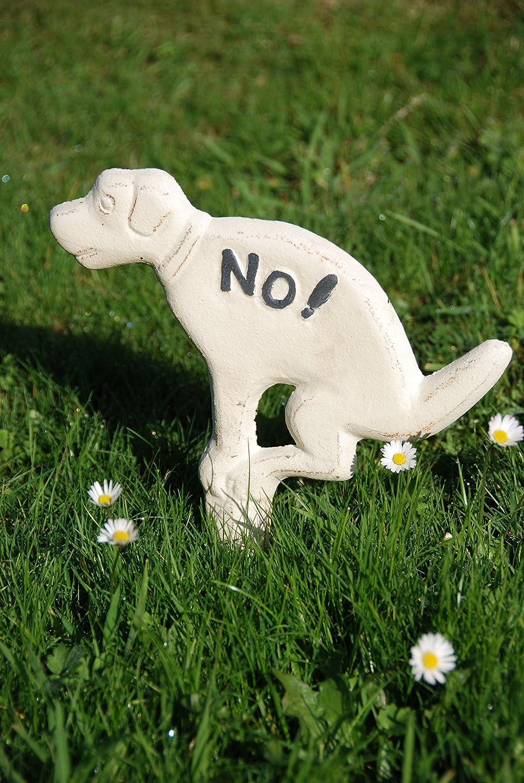 Esschert Design Chien en fonte blanc No pour pelouse beige 23 cm
