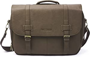 Sweetbriar Classic Laptop Messenger Bag, Brown - Vegan Leather Briefcase Designed to Protect Laptops up to 15.6 Inches