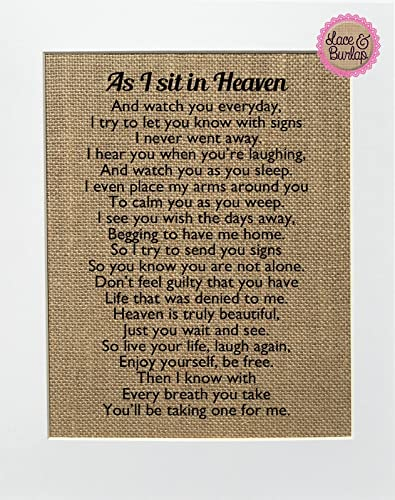 Amazoncom 8x10 Unframed As I Sit In Heaven Burlap Print Sign