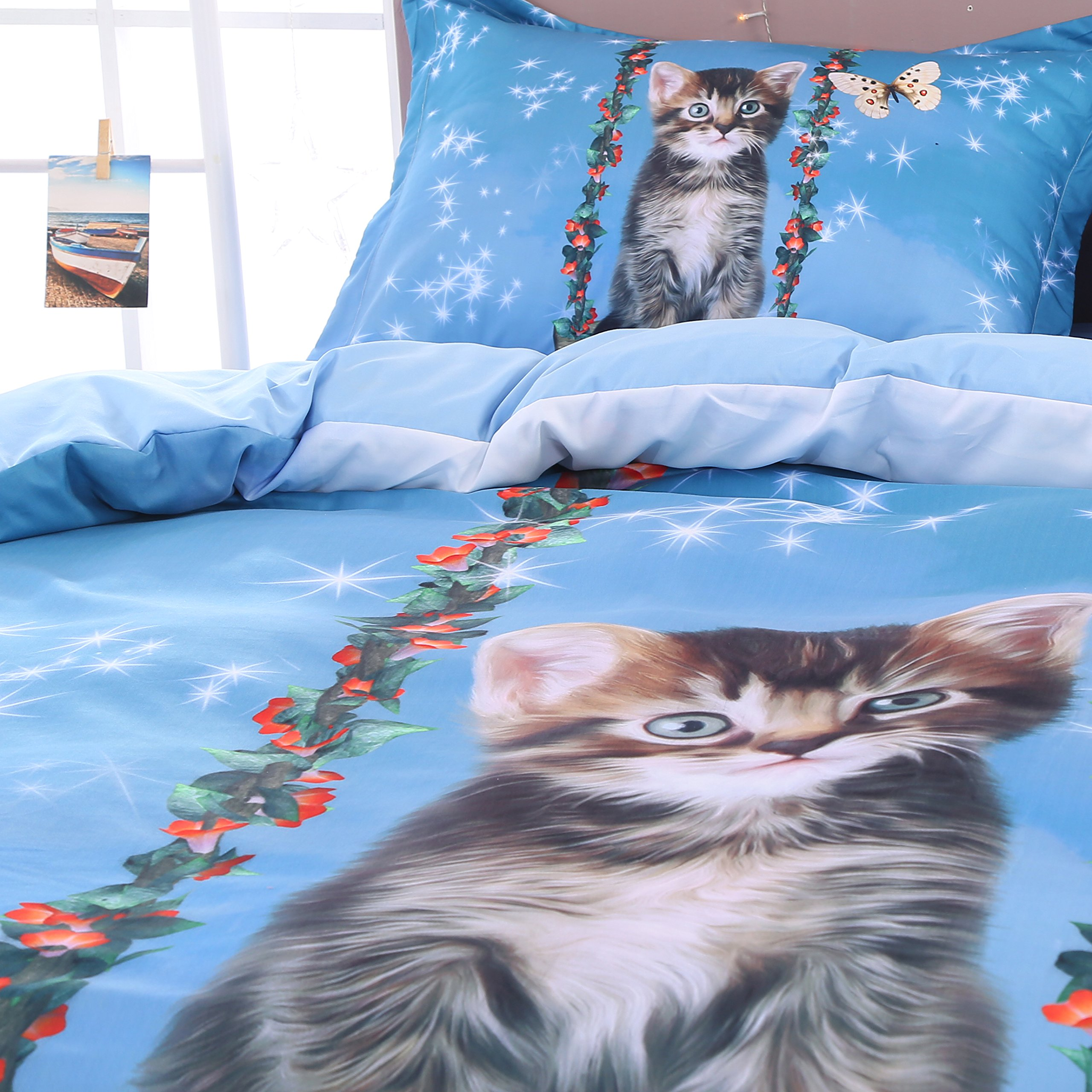 Beddinginn Cute Cat Swing Bedding Set Girls Loves 3d Duvet Cover Set Butterfly Print Girls Bed Set King Size by Beddinginn (Image #4)