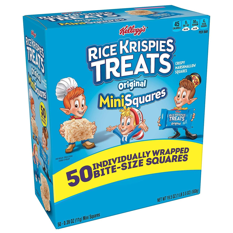 Kellogg's Rice Krispies Treats Original Marshmallow Mini-Squares - School Lunchbox Snack, Single Serve Bite-Sized 0.39 oz Bars (50 Count)