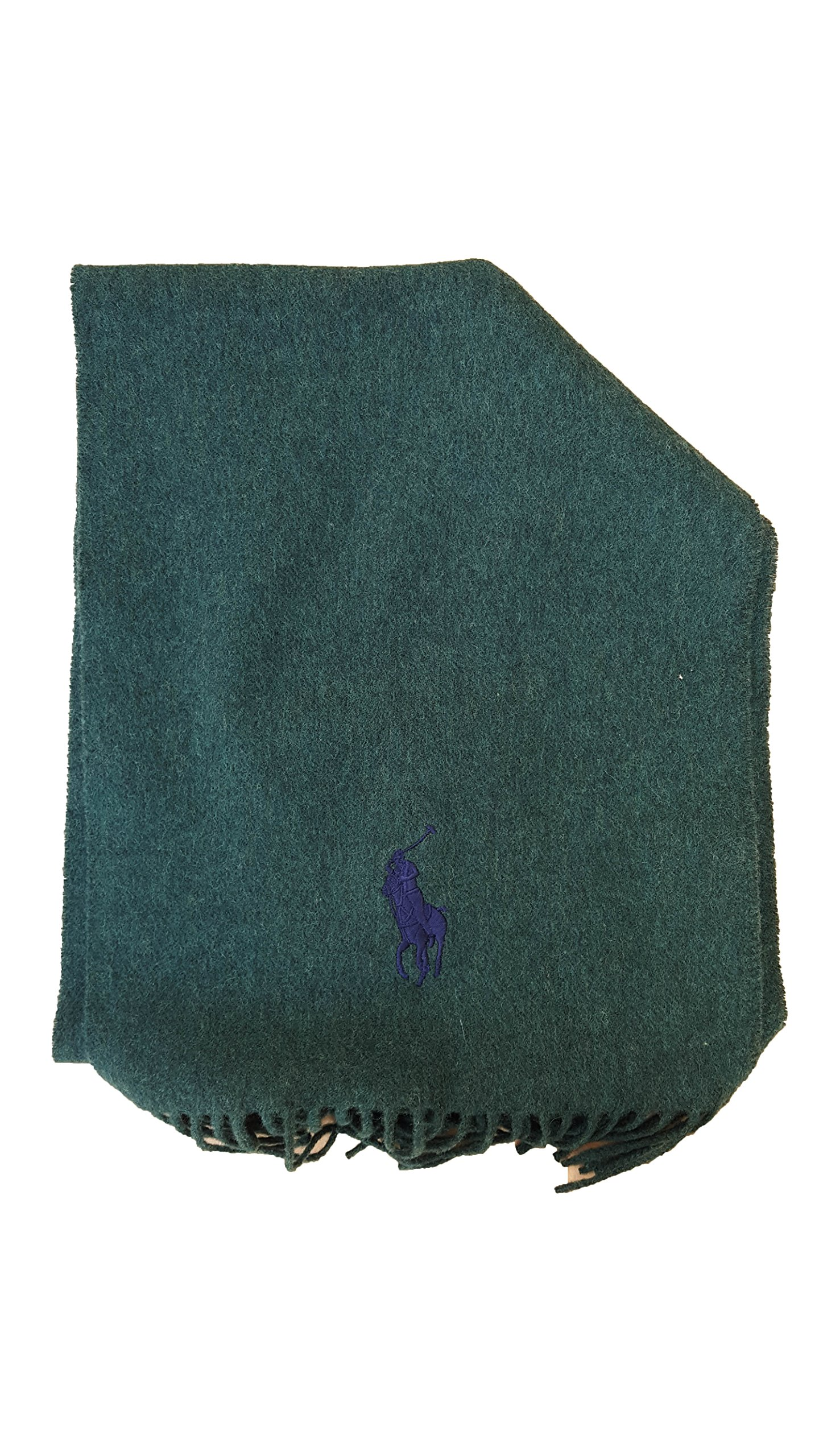 Men's LambsWool Solid Color Scarf by Polo Ralph Lauren, Made In Italy (Dark Green)