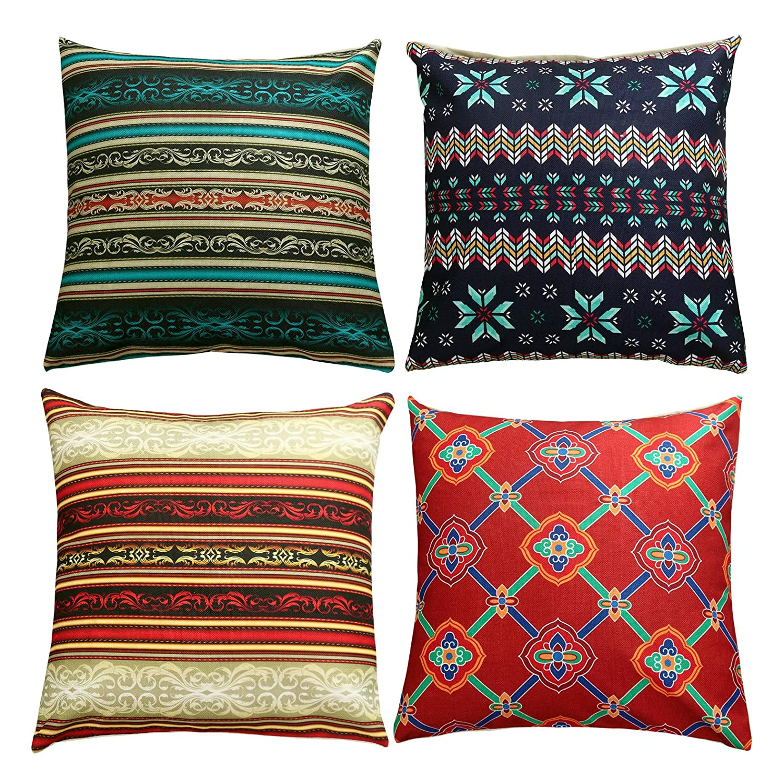 Sunday praise set of 4 bohemia decorative pillow covers accent handmade cotton linen burlap throw cushion covers modern european style square pillow case