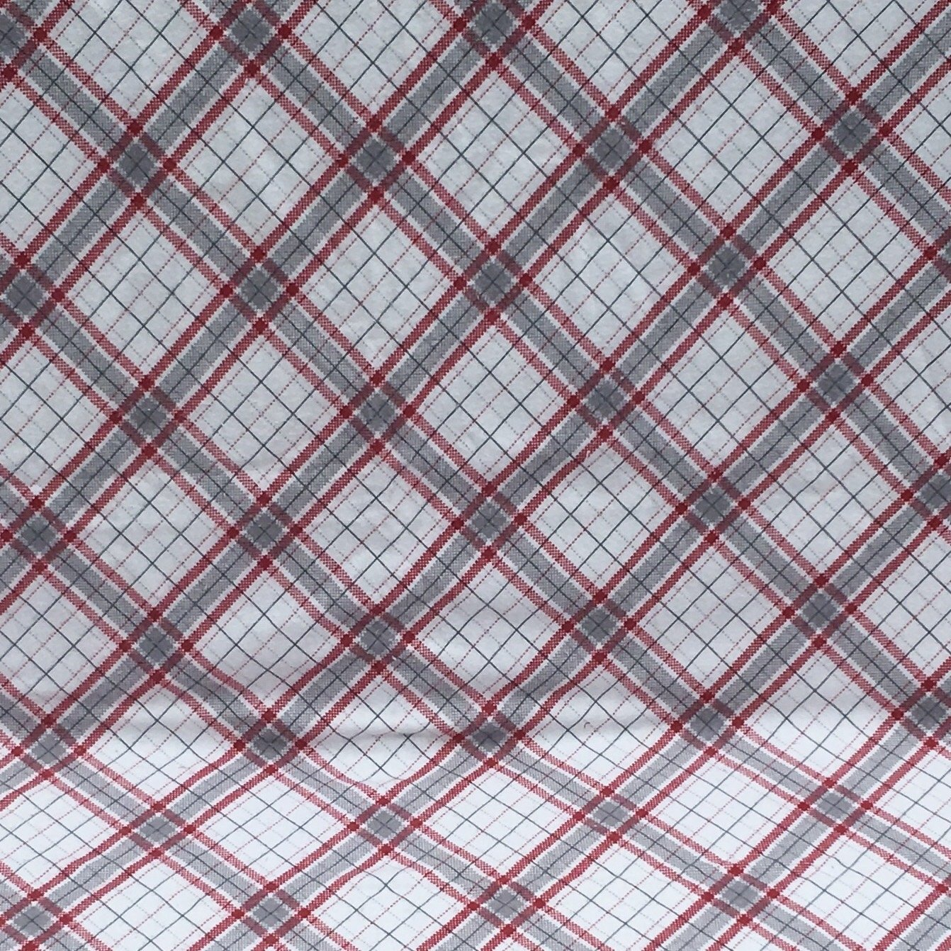 Grey white and red plaid flannel baby blanket great baby gift