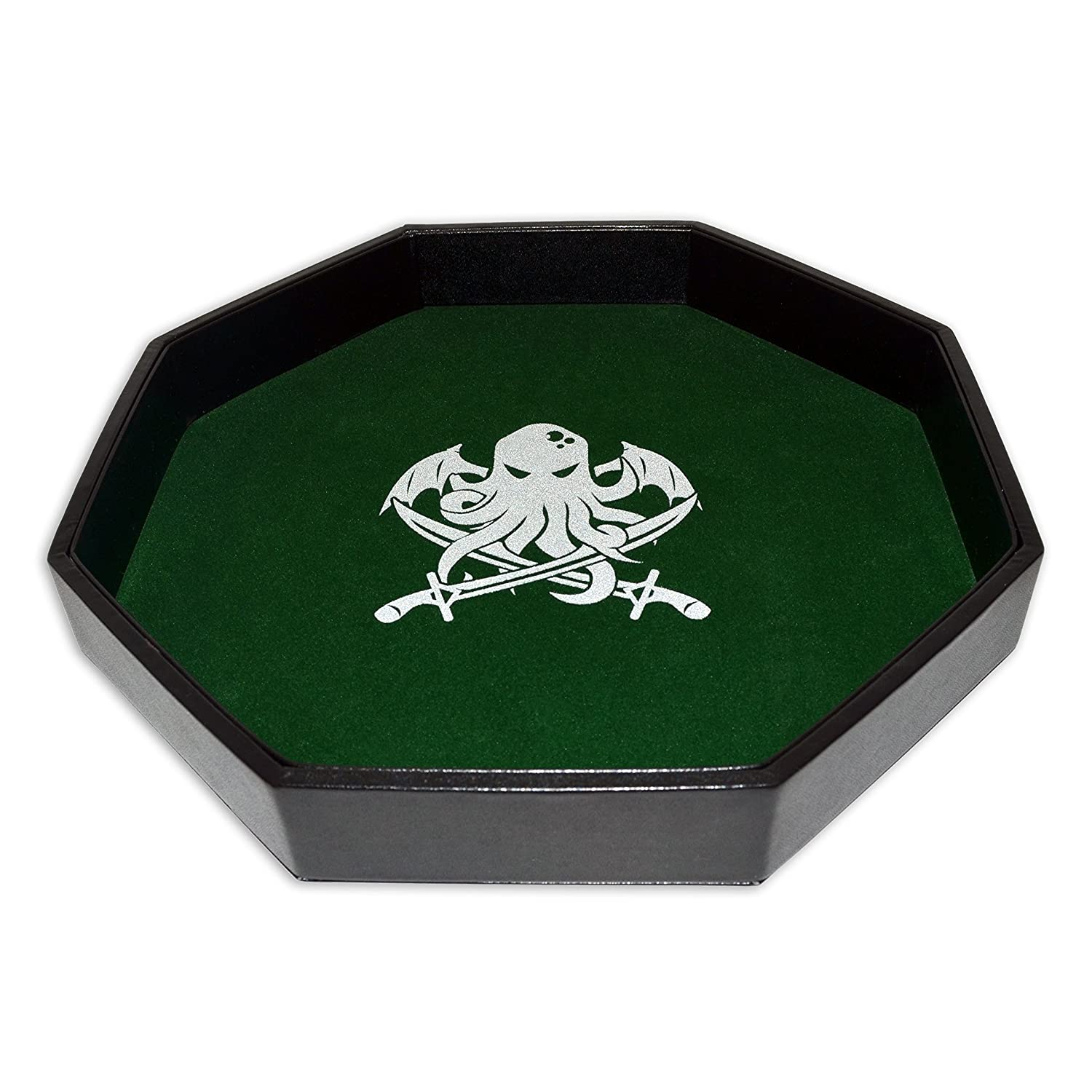 "Dice Tray - 11.5"" Octagon - Cthulhu's Lair - Green - Limited Edition - For Any Dice or Board Games  Tabletop RPGs like D&D (DnD)  Pathfinder Roleplaying Game Darksilver Forge"