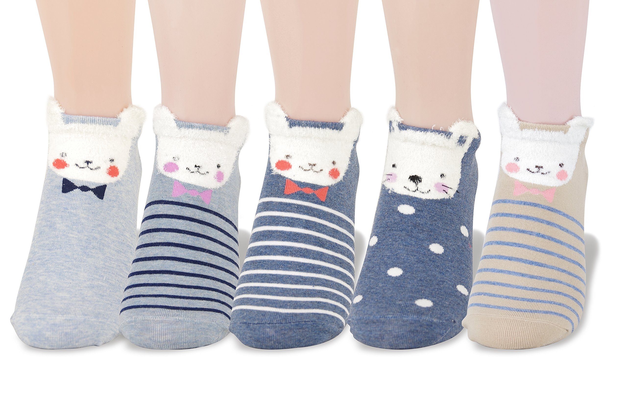 LL&Love 100% Cotton, Cute, Funny and Fashionable Casual Women's Low Cut Animal Socks (Style 12)