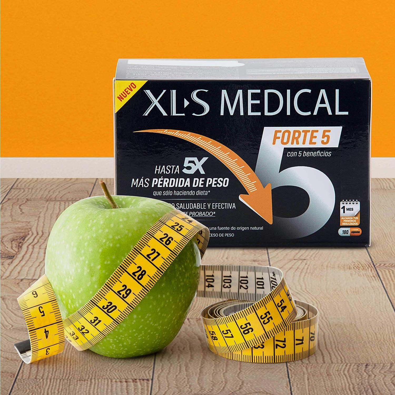 XLS Medical Forte 5 - Captagrasas más Efectivo que solo haciendo Dieta - Tratamiento para Perder Peso - Ingredientes de Origen Natural - 180 Cápsulas, ...