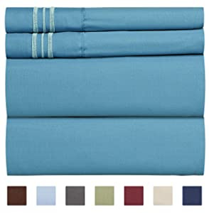 Full Size Sheet Set - 4 Piece - Hotel Luxury Bed Sheets - Extra Soft - Deep Pockets - Easy Fit - Breathable & Cooling Sheets - Wrinkle Free - Comfy – Denim Blue Bed Sheets - Full Sheets – 4 PC