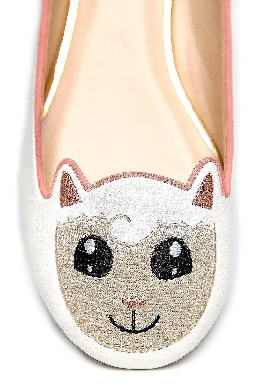 Cute To The Core Critter Round Toe Casual Ballet Cow Flats - Unicorn Bear Cow Ballet Sheep Panda Animals B01HIRYO2M 6 B(M) US Sheep White d37216