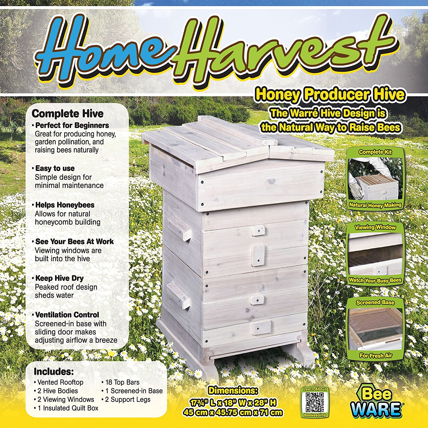 Amazon.com : Ware Manufacturing Home Harvest Bee Hive : Garden & Outdoor