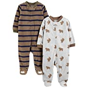 Simple Joys by Carter's Boys' 2-Pack Fleece Footed Sleep and Play, Bear/Brown Stripes, 3-6 Months