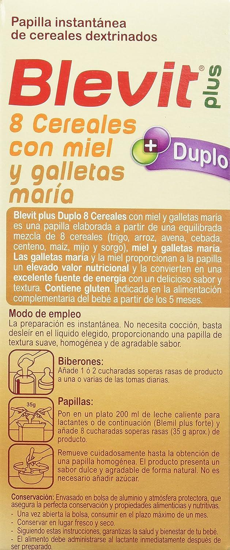 Blevit Plus Duplo 8 Cereales con Miel y Galletas Maria - Paquete de 2 x 300 gr - Total: 600 gr: Amazon.es: Alimentación y bebidas