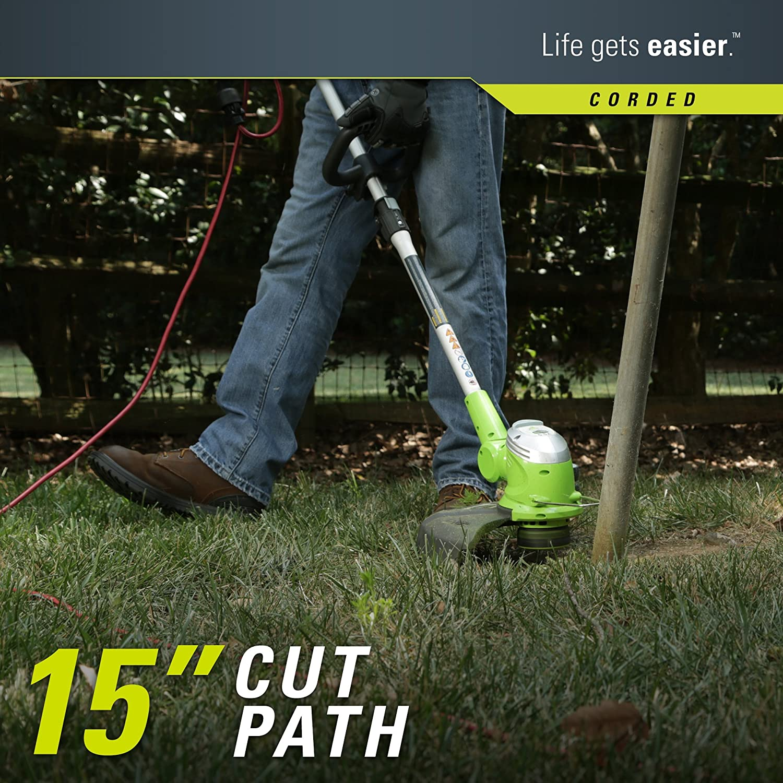greenworks 5 5amp 15 inch corded string trimmer