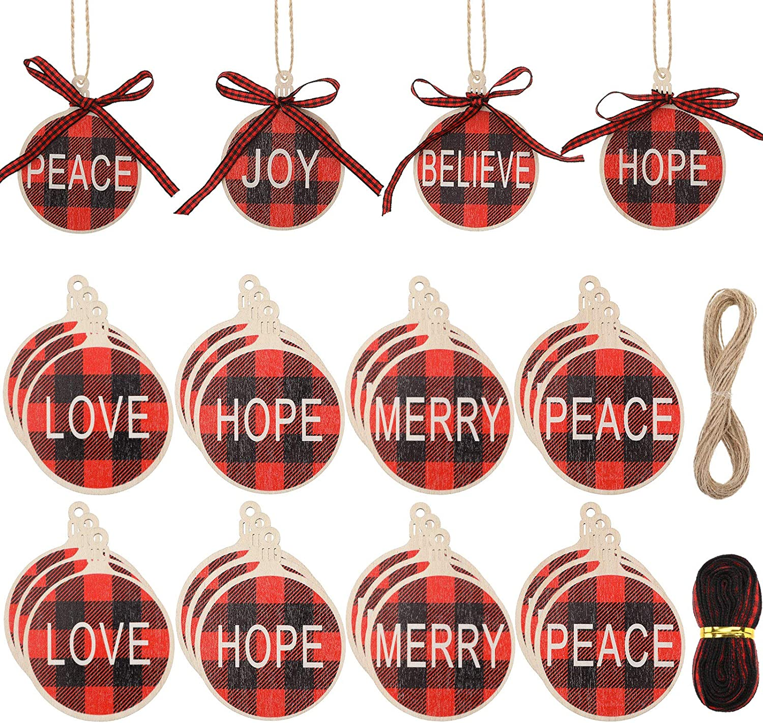 Jetec 18 Pieces Christmas Wooden Ornaments Buffalo Plaid Wishes Tree Ornaments Hanging Wood with Words Christmas Decor Wooden Crafts Pre-drilled for Centerpieces Holiday Hanging Decorations