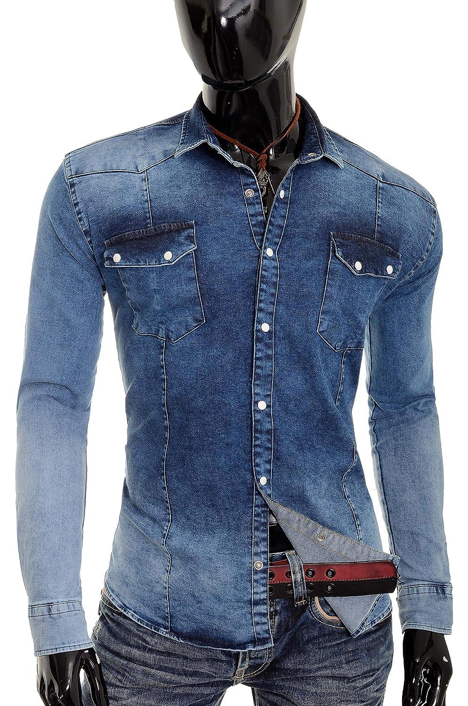 55f2f2c2c22 Men s Bleach Thick Denim Jean Shirt Regular Collar Pearl Studs Pockets  Stretch  Amazon.co.uk  Clothing