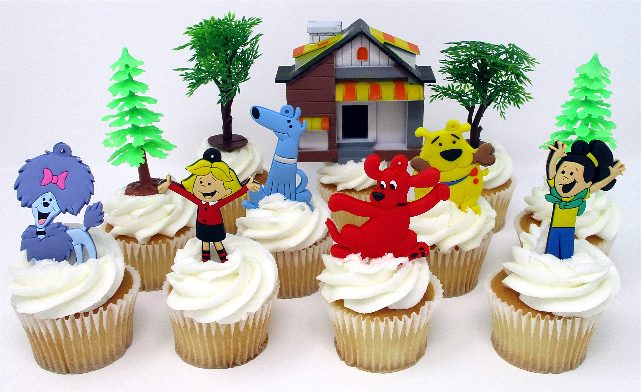 Clifford the Big Red Dog Birthday Cake CUPCAKE Topper Set Featuring Characters from CLIFFORD and Themed Decorative Accessories