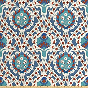 Ambesonne Eastern Fabric by The Yard, Traditional Ornament with Little Blossoms Moroccan Oriental Culture Elements, Decorative Fabric for Upholstery and Home Accents, 2 Yards, Teal Blue