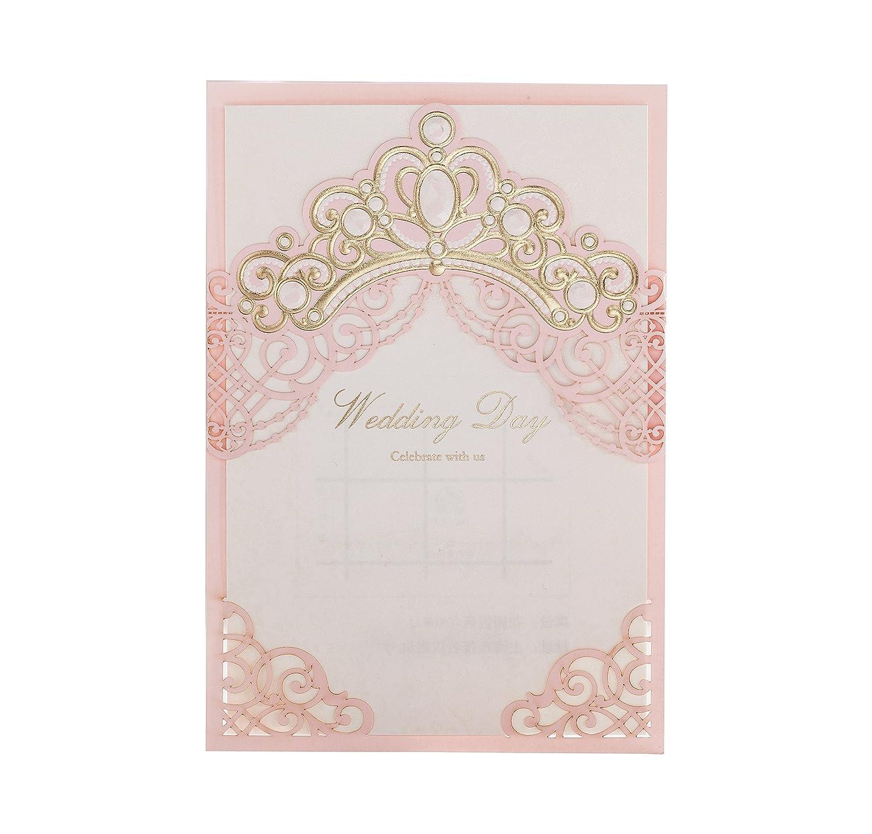 Amazon Wishmade 1 Piece Pink Laser Cut Elegant Wedding Invites With Crown Design Printable Invitation Sleeve Envelopes For Engagement: Pink Paisley Wedding Invitations At Reisefeber.org