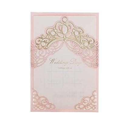 princess dreamwishmade pink laser cut crown elegant invites printable invitation sleeve for engagement