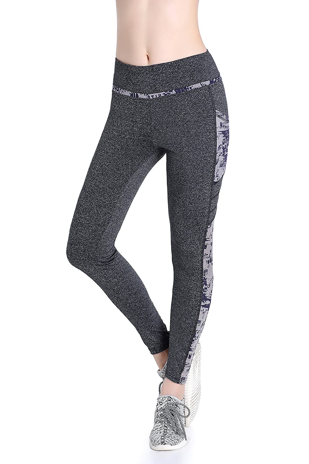 Annjoli Womens Workout Running Exercise Capris Pants Running Tights with Pockets