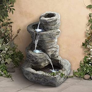 "John Timberland Rock Cascade Zen Outdoor Floor Water Fountain with Light LED 22"" High 4 Tiered Waterfall for Yard Garden Patio Deck Home"