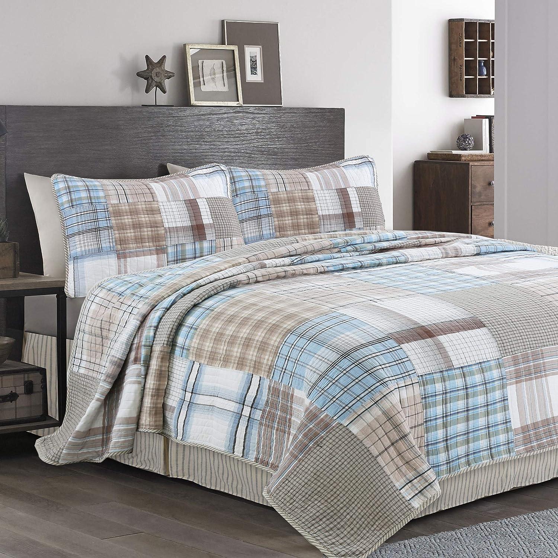 Cozy Line Home Fashions Hank Blue Grey Brown Plaid Grid Patchwork 100% Cotton, Reversible Coverlet, Bedspread, Quilt Bedding Set (Hank Patchwork, King - 3 Piece)