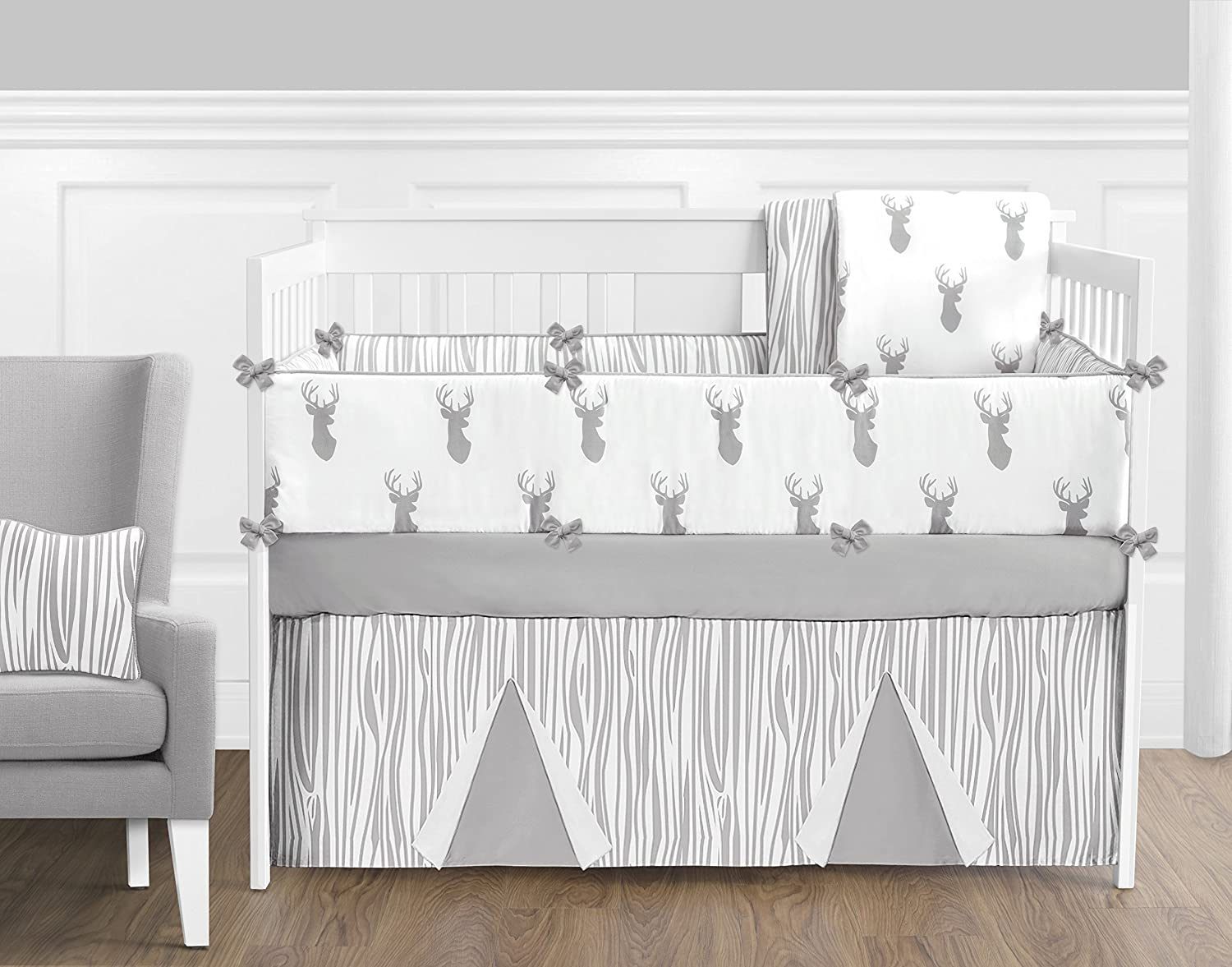 Grey and White Woodland Deer Boys Musical Baby Crib Mobile