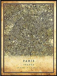 Paris map Vintage Style Poster Print | Old City Artwork Prints | Antique Style Home Decor | France Wall Art Gift | Antique map Art 8.5x11