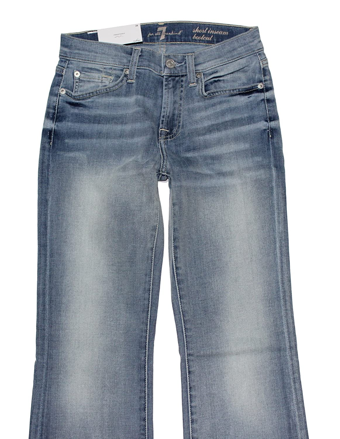 7 For All Mankind Women's Short Bootcut Jeans in Powder