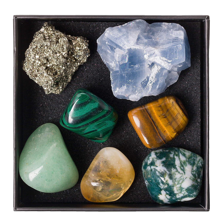 Blue Calcite Aventurine Tree Agate Informational Guide /& Gift Box Tigers Eye Pyrite Malachite Premium Quality Crystal Set for Abundance /& Prosperity