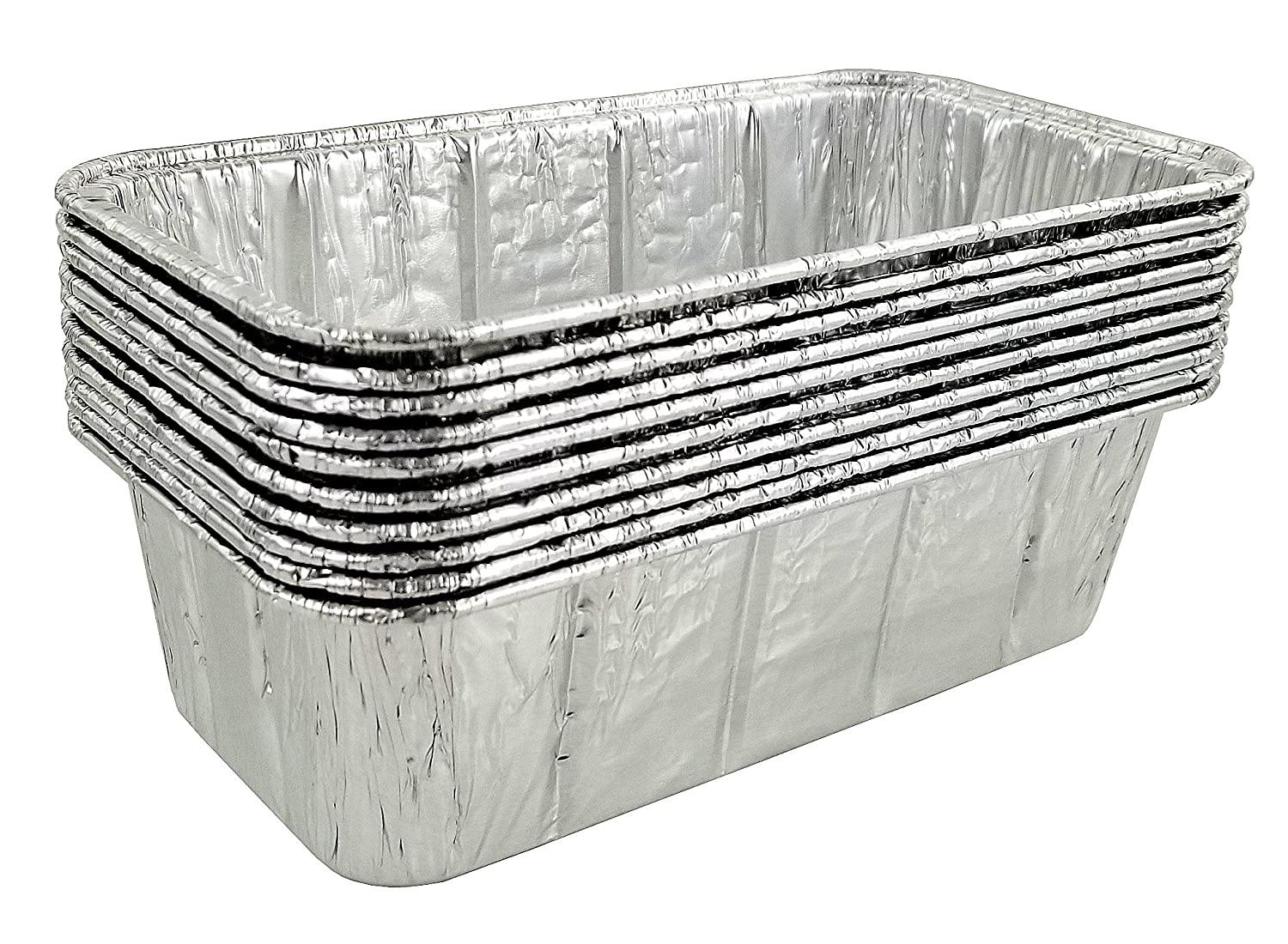 Pack of 10 Pactogo 1.5 lb Made in USA Disposable Aluminum Foil Loaf Bread Baking Pan 8 x 4.25 x 2.34